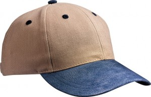 MB017 6 PANEL CAP WITH SUEDE PEAK